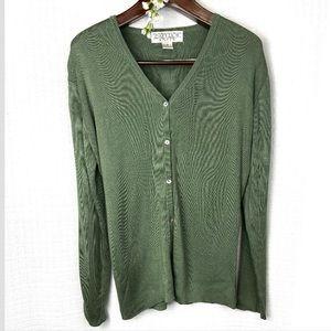 Chetta B• green silk cardigan